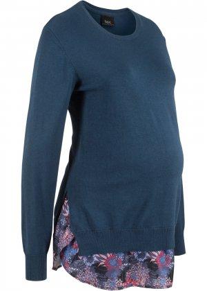 Пуловер 2 в 1 для беременных bonprix. Цвет: синий