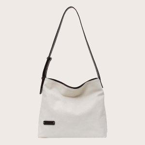 Минималистская большая сумка SHEIN. Цвет: белый