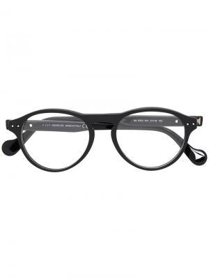 Очки в круглой оправе Moncler Eyewear. Цвет: чёрный