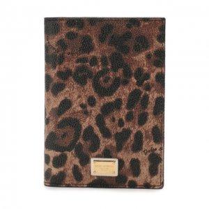 Кожаная обложка для паспорта Dolce & Gabbana. Цвет: леопардовый
