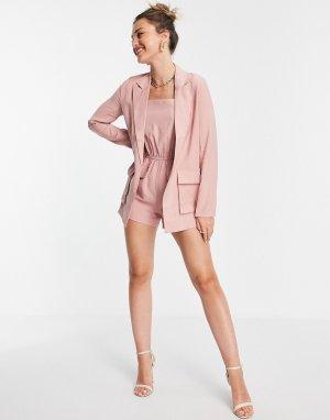 Розовый свободный блейзер x Saffron Barker-Розовый цвет In The Style