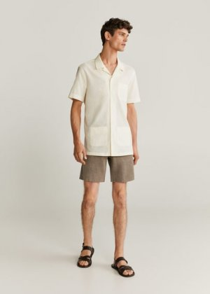 Хлопковая рубашка regular-fit с короткими рукавами - Tie Mango. Цвет: грязно-белый