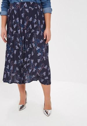 Юбка LOST INK PLUS PLEATED SKIRT IN BLOSSOM FLORAL. Цвет: синий