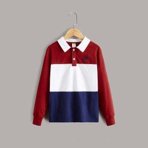 Для мальчиков Рубашка-поло Контрастный с вышивкой орла SHEIN. Цвет: многоцветный