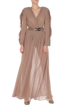Платье ELISABETTA FRANCHI. Цвет: коричневый