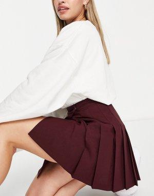Плиссированная юбка мини винного цвета -Фиолетовый цвет ASOS DESIGN