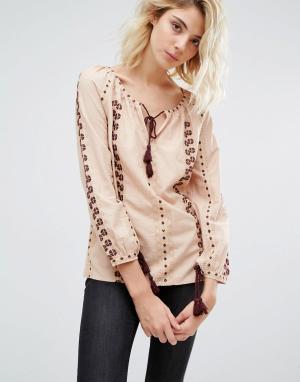 Блузка с вышивкой Analis Boho Gat Rimon. Цвет: розовый