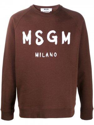 Толстовка с логотипом MSGM. Цвет: коричневый