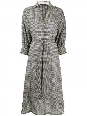 Платье-рубашка миди в клетку Seventy. Цвет: черный