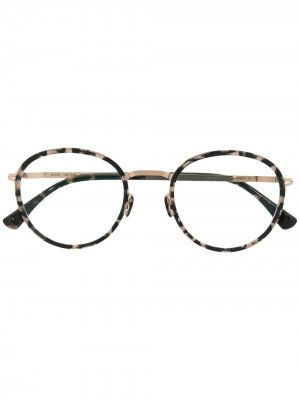 Солнцезащитные очки в оправе черепаховой расцветки Mykita. Цвет: черный
