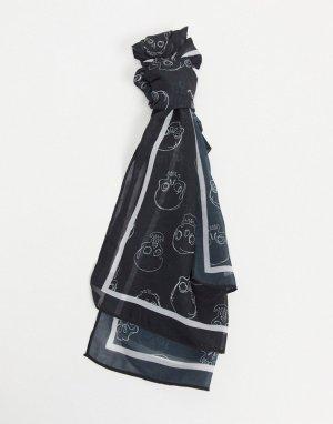 Длинный шарф с принтом -Черный цвет Bolongaro Trevor