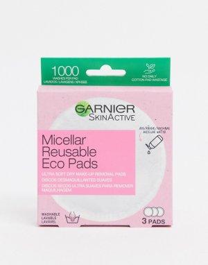 Многоразовые подушечки для снятия макияжа Eco Pads (3 больших из микрофибры)-Очистить Garnier