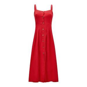Платье на тонких бретелях с застежкой пуговицы спереди JOE BROWNS. Цвет: красный