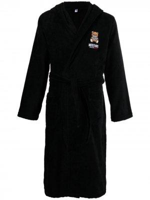 Халат с вышивкой Underbear Teddy Moschino. Цвет: черный