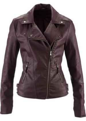 Куртка-косуха из искусственной кожи (баклажановый) bonprix. Цвет: баклажановый