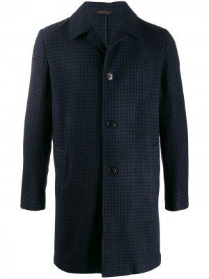 Однобортное пальто в клетку Altea. Цвет: синий