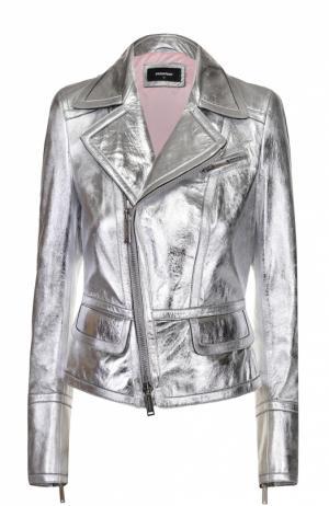 Укороченная кожаная куртка с косой молнией Dsquared2. Цвет: серебряный