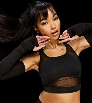 Черные рукава для активных тренировок с прорезями большого пальца ASYOU-Черный цвет AsYou