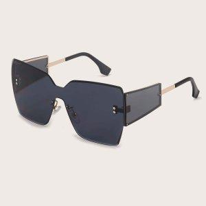 Мужские солнцезащитные очки без оправы в квадратной оправе SHEIN. Цвет: темно-серый