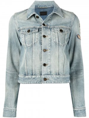 Джинсовая куртка с вышивкой Saint Laurent. Цвет: синий