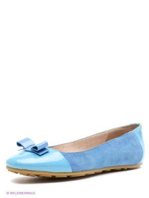Балетки LENA MILAN. Цвет: голубой