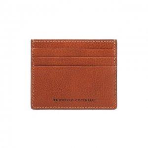 Кожаный футляр для кредитных карт Brunello Cucinelli. Цвет: коричневый