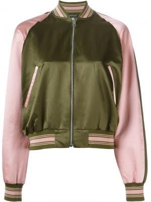 Striped trim bomber jacket Alexander McQueen. Цвет: зелёный