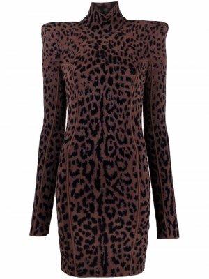Жаккардовое платье с объемными плечами Roberto Cavalli. Цвет: коричневый