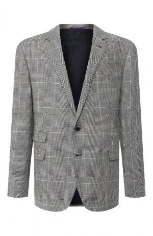 Пиджак из смеси шерсти и шелка Ralph Lauren. Цвет: чёрно-белый