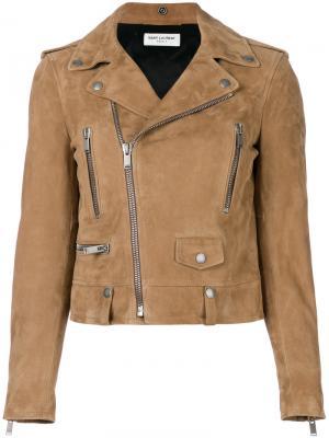 Замшевая байкерская куртка Saint Laurent. Цвет: коричневый