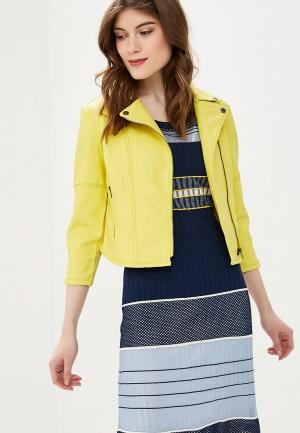Куртка кожаная SH. Цвет: желтый