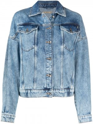 Джинсовая куртка с эффектом потертости Patrizia Pepe. Цвет: синий