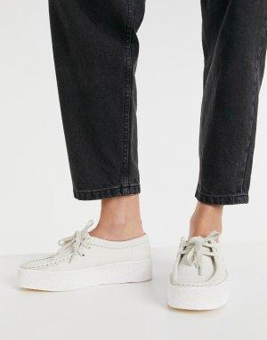 Белые туфли на плоской платформе из нубука Wallabee Cup-Белый Clarks Originals