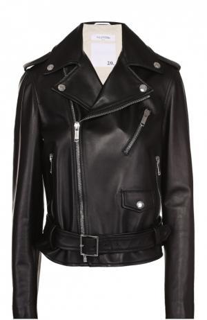 Укороченная кожаная куртка с косой молнией Valentino. Цвет: черный