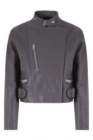 Серая кожаная куртка Acne Studios. Цвет: серый