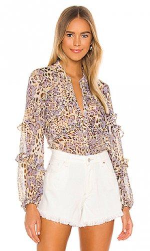 Блузка rumi Bardot. Цвет: коричневый