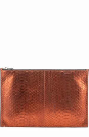Папка из кожи питона Tom Ford. Цвет: оранжевый