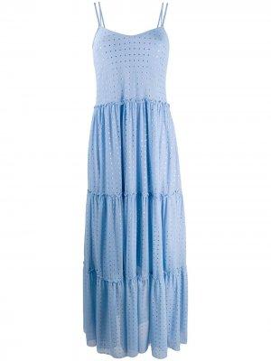 Ярусное платье макси с пайетками Fisico. Цвет: синий