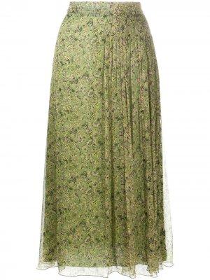 Юбка миди с цветочным принтом Luisa Cerano. Цвет: зеленый