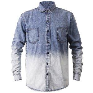 Мужской Джинсовая рубашка омбре SHEIN. Цвет: легко-синий