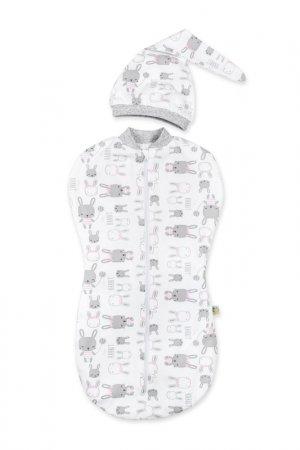 Пеленка Кокон, шапочка Сонный гномик. Цвет: белый, рисунок