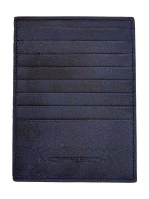 Бумажник из шлифованной кожи MORESCHI. Цвет: синий