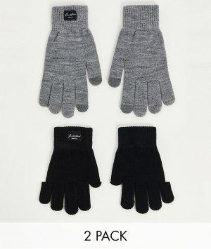 Набор из 2 пар перчаток серого и черного цвета -Разноцветный Jack & Jones