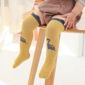 Детские носки с рисунком динозавра SHEIN. Цвет: жёлтые