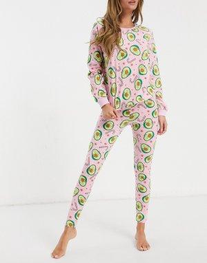 Бело-розовая пижама с лонгсливом и леггинсами новогодним принтом авокадо -Мульти ASOS DESIGN