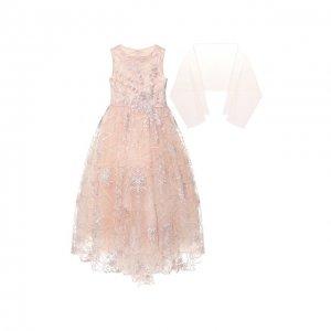 Платье-макси с шарфом Ciao Kids. Цвет: розовый