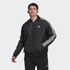 Стеганая олимпийка Adicolor Classics SST Originals adidas. Цвет: черный