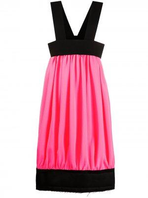 Платье миди в стиле колор-блок Comme Des Garçons. Цвет: розовый