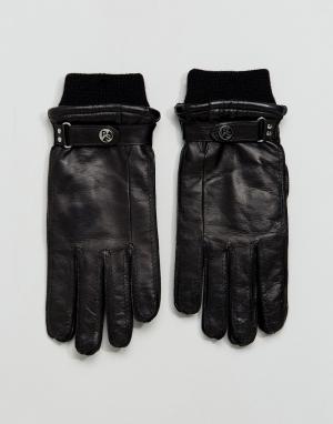Изготовленные в Италии черные перчатки из козьей кожи PS Paul Smith. Цвет: черный