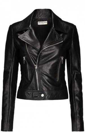 Куртка кожаная Balenciaga. Цвет: черный